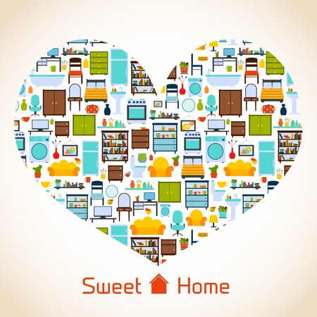 Interior furniture sweet home concept with icons in heart shape vector illustration Vector