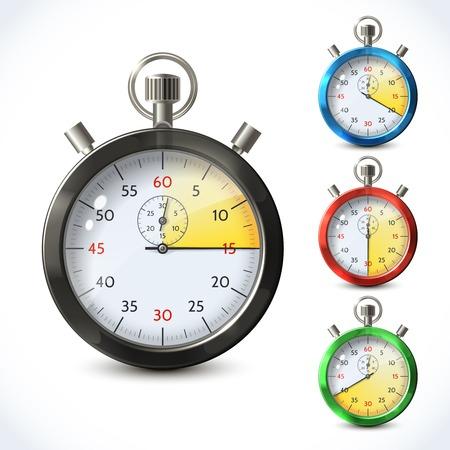 chronometer: Realistic metallic stopwatch countdown speed sport chronometer set isolated vector illustration Illustration