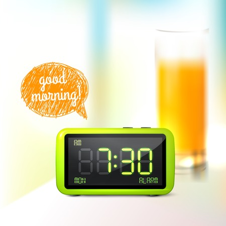 lcd display: Realistic digital alarm clock with lcd display and glass of orange juice good morning background vector illustration