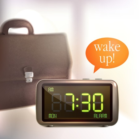 Realistic digital alarm clock with lcd display wake up text and briefcase background vector illustration Vector