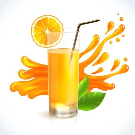 Orange juice healthy drink in glass with straw and splash on background emblem vector illustration Illustration