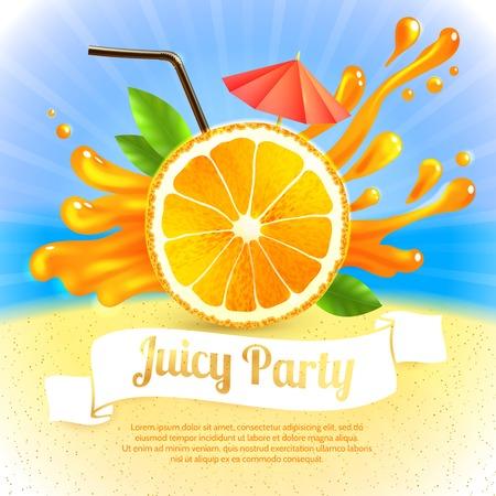 Sliced orange and cocktail straw with splash on background party poster vector illustration Illustration