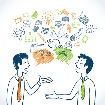 sales meeting: Doodle business conversation sketch concept with businessmen chatting and finance icons isolated vector illustration Illustration