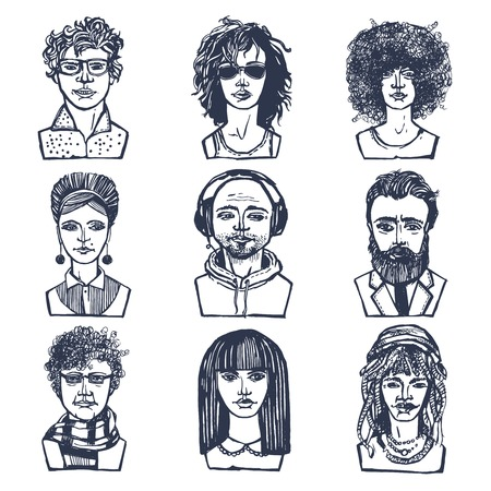 Sketch grunge males and females people portraits set isolated vector illustration Vector