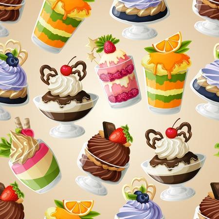 Decoratieve zoetigheden dessert naadloze patroon met bosbessen creme brulee citroenjam vectorillustratie Stock Illustratie