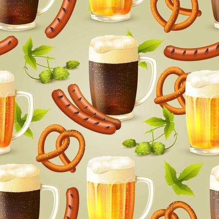dark lager: Glass mugs of lager and dark beer hop pretzel and sausage seamless pattern vector illustration Illustration