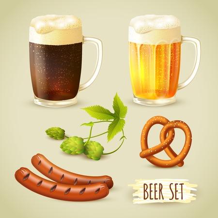 dark lager: Glass mugs of lager and dark beer hop pretzel and sausage snacks decorative set vector illustration Illustration