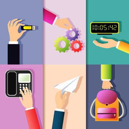 usb drive: Business hands gestures design elements of holding memory stick cog wheel digital clock isolated vector illustration Illustration