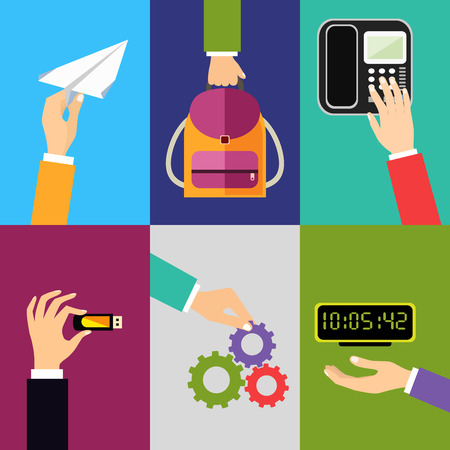 flash point: Business hands gestures design elements of holding paper plane backpack touching phone isolated vector illustration