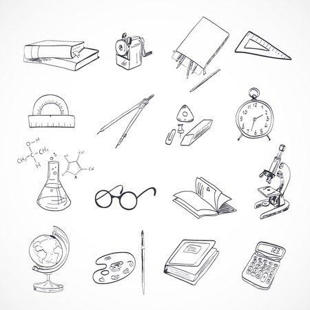 pencil box: School education elements icons set with microscope drawing compasses stationery isolated vector illustration
