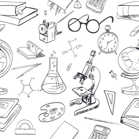pencil box: School education seamless wallpaper with microscope notebook chemical formula vector illustration