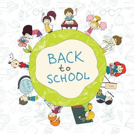 装飾的な子供は本の鉛筆や入浴供給背景スケッチ落書きベクトル イラスト エンブレム ポスター ラウンド学校に戻る