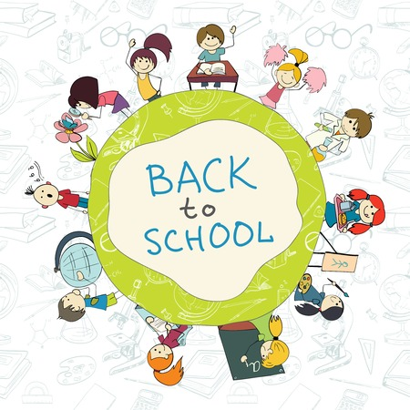 Decorative kids back to school round emblem poster with books pencils acessories background sketch doodle vector illustration