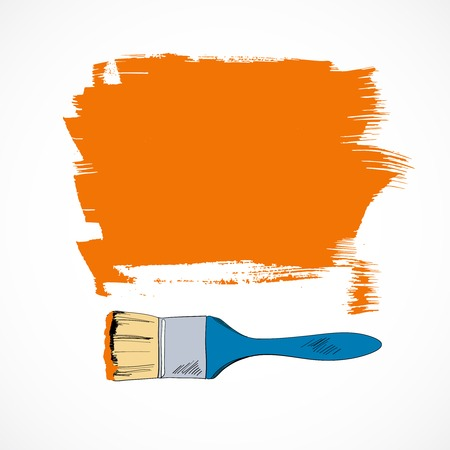 flat brush: Artist flat brush paint strokes covered area sample template background doodle sketch vector illustration