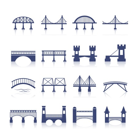 Bridge architectuur stadsoriëntatiepunt silhouet pictogram set geïsoleerde vector illustratie Stock Illustratie