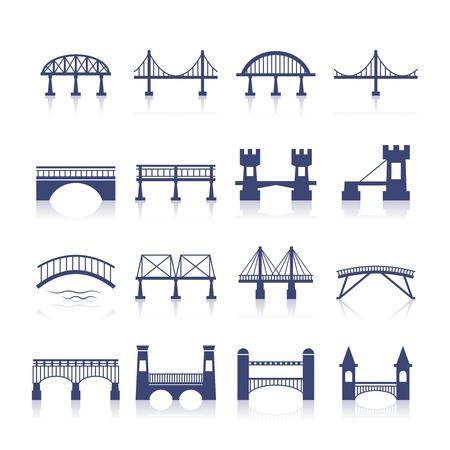Bridge architectuur stadsoriëntatiepunt silhouet pictogram set geïsoleerde vector illustratie Stock Illustratie