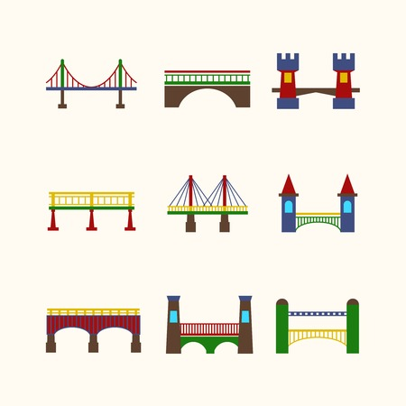 web design bridge: Bridge architecture city landmark harbor construction flat icon set isolated vector illustration