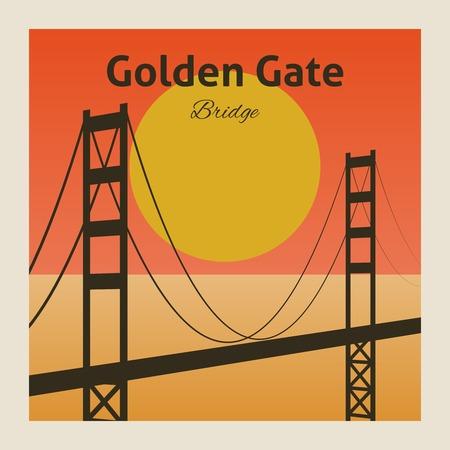 suspension: Golden gate san francisco bay california poster vector illustration