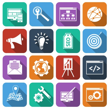 SEO mobile computer website optimization analysis icons flat set isolated vector illustration Vector