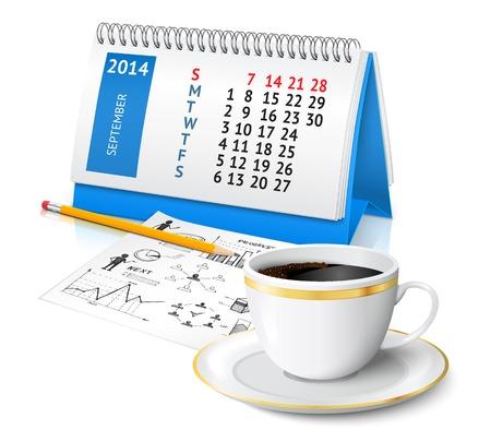 Espiral calendario de escritorio de oficina con el bosquejo del plan de negocios y la taza de café ilustración vectorial Foto de archivo - 29000148