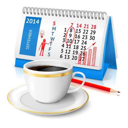 Spiral desk office calendar with business sketch red pencil and coffee cup vector illustration