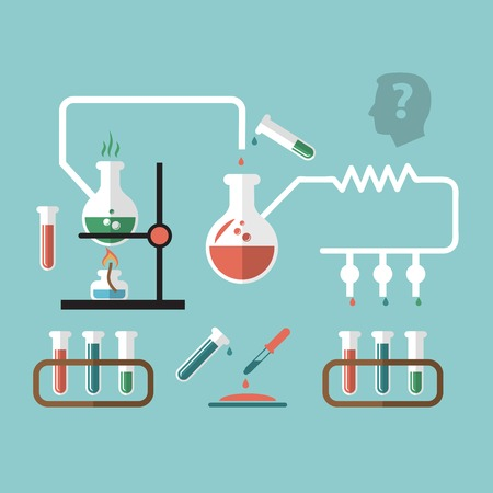 reaction: Chemistry molecular scientific research tube pipette reaction infografic chart presentation with burner flame doodle sketch vector illustration
