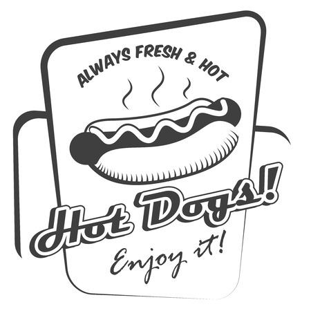図面のホットドッグ新鮮なファーストフードをお楽しみください黒と白のポスター テンプレート ベクトル イラスト  イラスト・ベクター素材