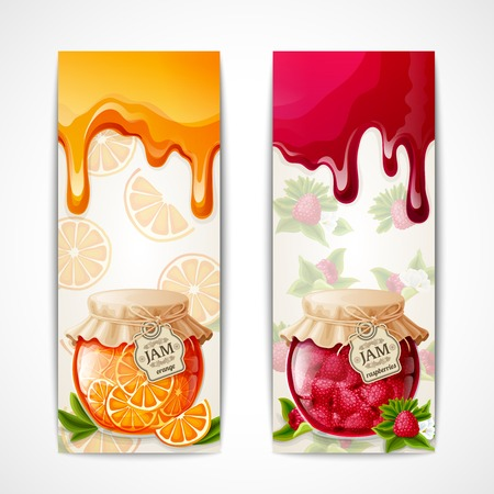 Natural organic orange and raspberry berries jam glass jar vertical banners isolated vector illustration