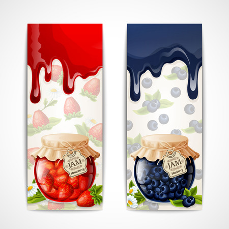 marmalade: Natural organic strawberry blueberry jam glass jar vertical banners isolated vector illustration