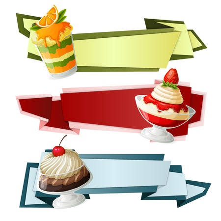 strawberry jelly: Decorative sweets food paper banners set with chocolate cream cherry syrup in glass dessert isolated vector illustration