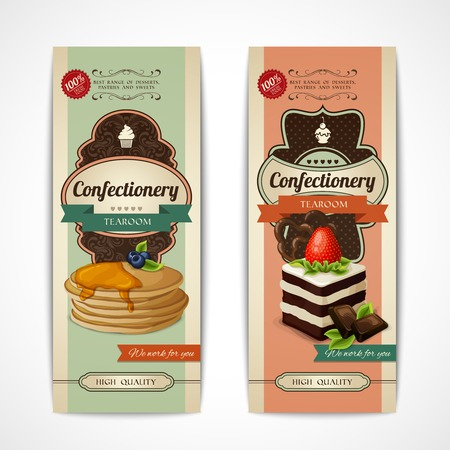Decorative sweets vertical retro tearoom banners collection with crepes and sponge cake isolated vector illustration