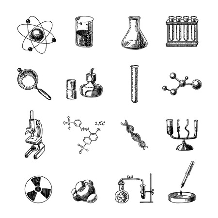science lab: Scientific chemistry laboratory equipment of retort glass holder dna symbols doodle sketch icons set isolated vector illustration