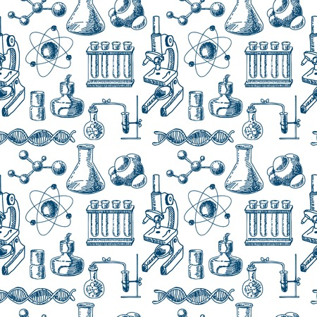 Decorative scientific chemical  laboratory equipment glass tubes structure dna symbols doodle sketch design seamless pattern vector illustration