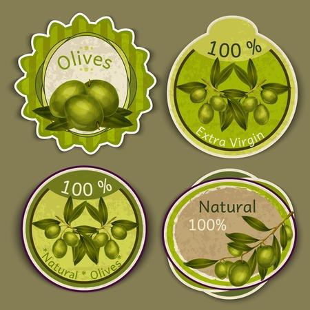 aceite de oliva virgen extra: Alimentos naturales org�nicos adicionales etiquetas de aceite de oliva virgen conjunto aislado ilustraci�n vectorial