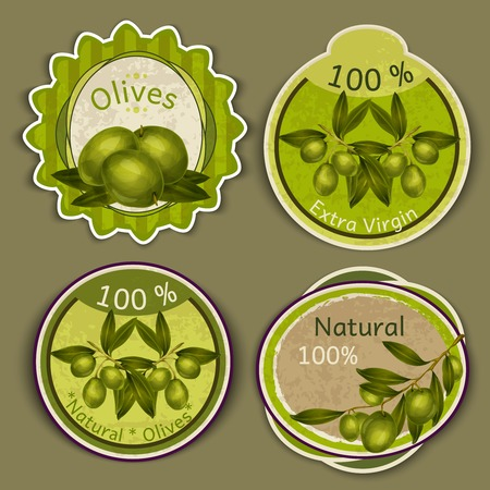 Organic natural food extra virgin olive oil labels set isolated vector illustration Vector