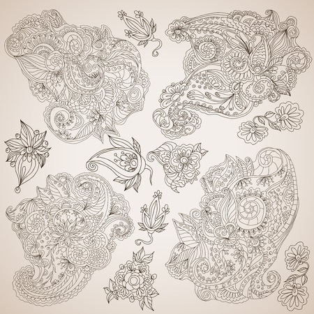 lacework: Retro lacework ornamental decorative abstract elements set  isolated vector illustration
