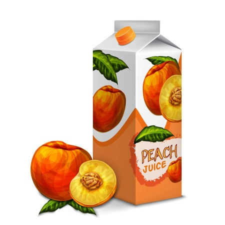Juice carton cardboard box pack 3d with whole and cut sweet peach isolated vector illustration Vector