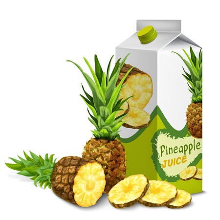 pineapple juice: Juice carton cardboard box pack 3d with sliced sweet pineapple isolated vector illustration