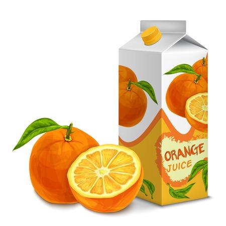 Juice kartonnen doos verpakking 3d met gesneden zoete oranje geïsoleerd vector illustratie