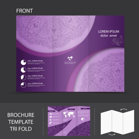 fold back: Purple abstract design paper brochure leaflet tri-fold design back and front template vector illustration