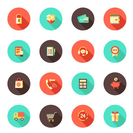 shopping button: E-commerce shopping flat round icons set of credit card money wallet 24h delivery isolated vector illustration