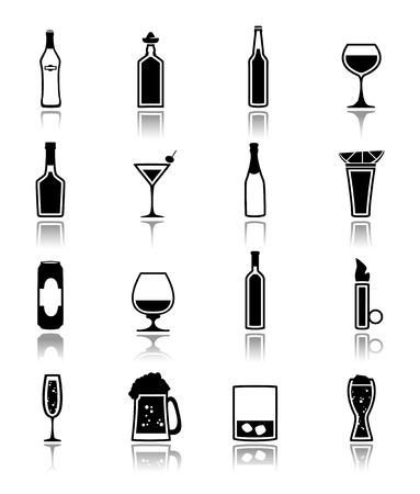 likeur: Alcohol drankjes flessen en glas iconen zwart set van bier kan martini drank geïsoleerde vector illustratie.