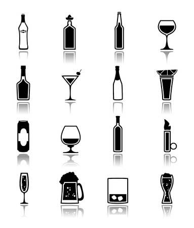 liquor: Alcohol drinks bottles and glass icons black set of beer can martini liquor isolated vector illustration.