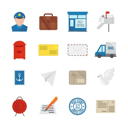 mailman: Post service icon flat set with delivery courier envelope and parcel packages isolated vector illustration