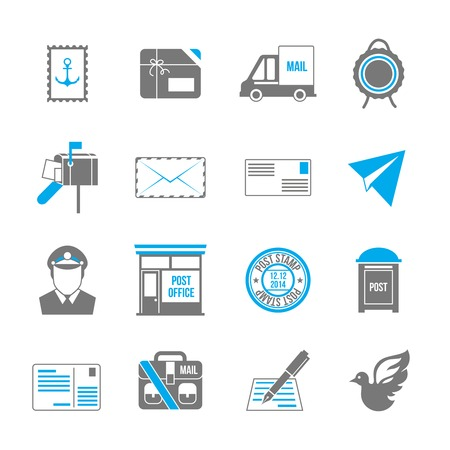 mail box: Post service icon set of shipping delivery packaging isolated vector illustration