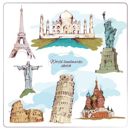 World landmark sketch set of taj mahal pisa tower isolated vector illustration Иллюстрация
