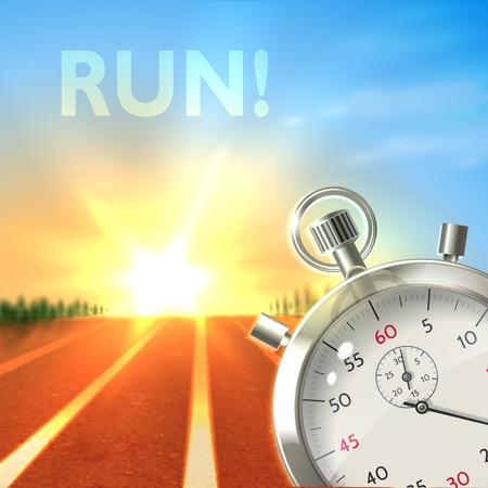 chronometer: Realistic metallic stopwatch and running track sport poster illustration