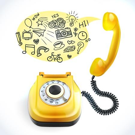 cable telefono: El estilo retro del teléfono de color amarillo con la ilustración de la burbuja de chat doodles vector Vectores