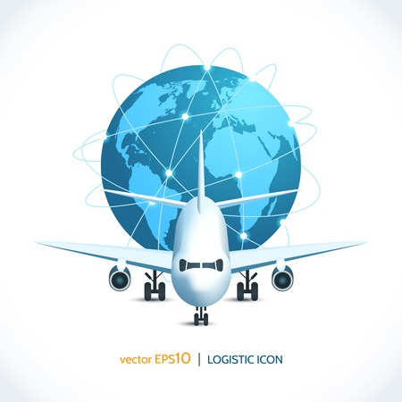 international shipping: Logistic shipping realistic airplane global network isolated on white vector illustration