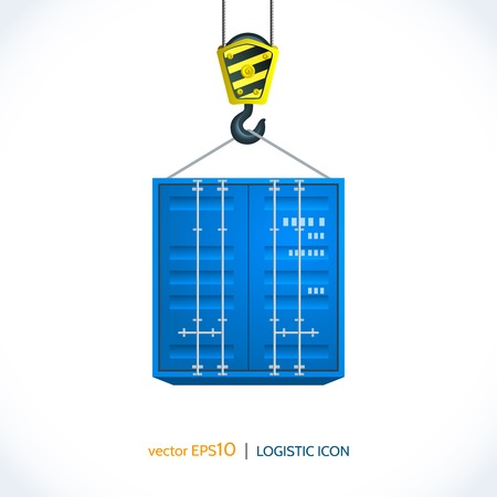 container freight: Logistic shipping realistic container hanging on crane hook icon isolated on white background vector illustration